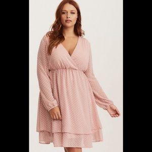 Torrid blush polka dot skater dress pink 3X
